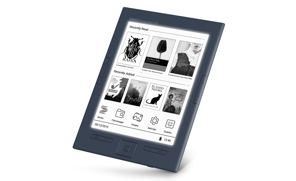 Energy system screenlight ereader