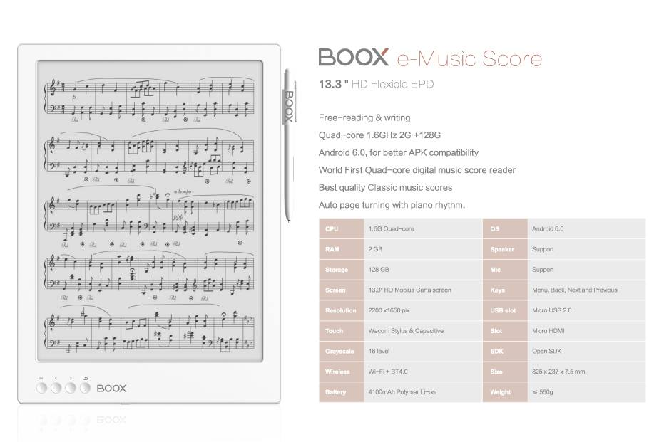 Onyx boox eMusic score